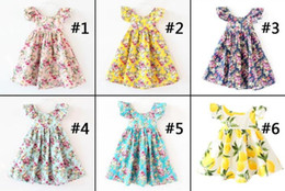 Wholesale Knee Length Halter Neck Dresses - 11 Designs Cherry lemon Cotton backless girls floral beach dress cute baby summer backless halter dress kids vintage flower dress