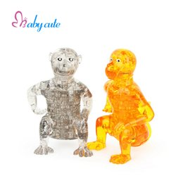 Wholesale Early Crystals - 3D Crystal Puzzle Lovely Monkey Shape Classical Puzzles Animla Assembled Model Early Learning Puzzle Toys Best Gift For Child