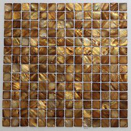 Argentina [ENVÍO GRATIS] Mosaico de concha de nácar de color dorado, 20 mm x 20 mm en respaldo de malla, azulejo de concha de agua dulce (MS095) Suministro
