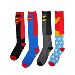 Wholesale Wholesale Cheap Sport Socks - Cheap sports socks cosplay superhero cape sock super hero cotton knee high socks high qualty mens football socks 4 styles