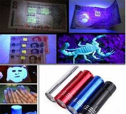 Wholesale Travel Uv Lamp - 9 LED Mini Aluminum UV Ultra Violet 9 LED Flashlight Blacklight Torch Light Lamp 50PCS free ship