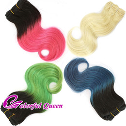 Wholesale Cosplay Hair Pink - 300g Lot Short Ombre Human Hair Bundle Body Wave Pink Green 613 Platinum Blonde Blue Ombre Human Hair Weave Bundles Cosplay Body Wave 6pcs