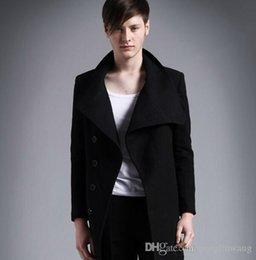 Мужская куртка из черной шерсти онлайн-Повседневный черный стоящий воротник пальто мужские шерстяные пальто мужские куртки и пальто 2017 мужские мужские шерстяные пальто платье зима короткий плащ 2XL
