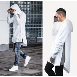 Wholesale Men Plain Hoodies - Wholesale-streetwear mens big and tall white grey black S-3XL longline shirt plus size pullover plain side zipper extended long hoodie
