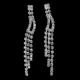 Wholesale Earrings Tassel New - New Arrival Rhinestone Dangle Tassel Earrings Silver Wedding Bridal Jewelry Full Crystal Wholesale Drop Earrings for Women E5105