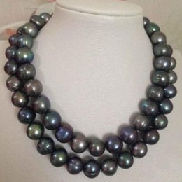 Wholesale Tahitian Pearl 19 Inch Necklace - Gorgeous 2 rows 11-12mm Tahitian Black Baroque Pearl Necklace 18 inch 19 inch 925 Silver Clasp