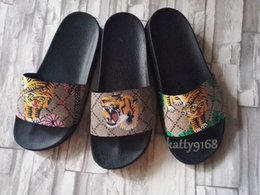 Wholesale Rubber Soled Slippers - New 3 Colors Summer Tiger Beach Slippers for Men Casual Mens Printing Leather Thick Soled Sandals Clearance