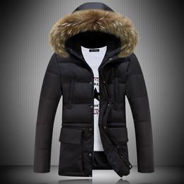 Wholesale Mens Purple Jacket Fur - Wholesale- 2016 Long Parka Men Winter Jacket Men Coat Brand Mens Winter Parka With Fur Hood Manteau Homme Hiver Abrigos Hombres Invierno