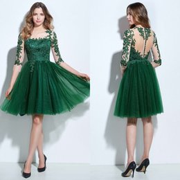 Wholesale Low Price Cocktail Dresses - Low Price A Line Jewel Knee Length Green Tulle Homecoming Dresses With Sheer Half Sleeve Appliques Lace Elegant Cocktail Prom Dresses