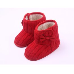 Wholesale Knitted Infant Shoes - Wholesale- DreamShining Baby Shoes Knitted Fleece Girls Snow Boots Soft Sole Kids Infant Newborn Shoes Winter Warm Baby Frist Walkers