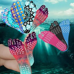 Wholesale smile stick - Beach Invisible Anti Slip Insoles Starry Emoji Smile Mandala Nakefit Thermal Insulation Waterproof Soles Stick On Feet Pads Socks 50 OOA2264