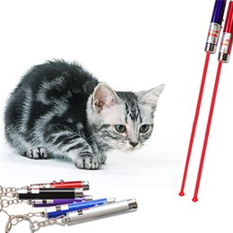 Wholesale Pen Pets - 2in1 Red Laser Pointer Pen Key Ring with White LED Light Show Portable Infrared Stick Funny Cats Pet Toys Wholesale 07040