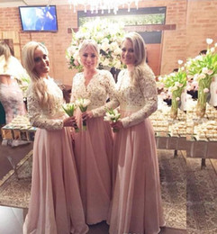 Wholesale Purple Chiffon Tiered Bridesmaid - Cheap Long Sleeves Lace Chiffon Bridesmaid Dresses V neck Appliques Custom Made Luxury Pearls prom Party Gowns for Bridesmaids 2017