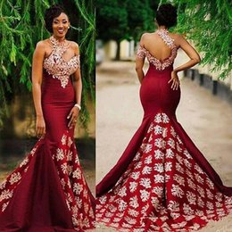 Wholesale Plus Size Maternity Winter Jackets - Special Design Wine Mermaid Prom Dresses High Neck One Shoulder Evening Dresses Applique Sweep Train V-Backless Reception Dress ASO EBE