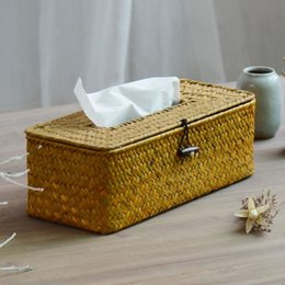Wholesale Rattan Seating - Wholesale- NEW! Rural Vintage Style Tissue Box Case Nature Rattan Table Napkin Holder Box Paper Box Storage Case Hot!