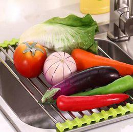 2019 desagüe de plato inoxidable Drenaje multifuncional Estante de cocina Estante Drenaje Estante del fregadero Estante de acero inoxidable Plato de goteo DH12 desagüe de plato inoxidable baratos