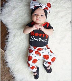 Wholesale Strawberry Cotton Shirts - 2017 Babies Summer Sets Kids Girls Letter Jumper T-shirts with Strawberry Pants Children's Fashion Casual Outfits bebe clothing