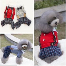 Wholesale Polo Jacket Large - Red Gray Dog Pet Jumpsuit Puppy Polo Cotton Plaid Shirt With Bowknot Clothes Pet Supplier 2 Color 5 Size 25PCS LOT