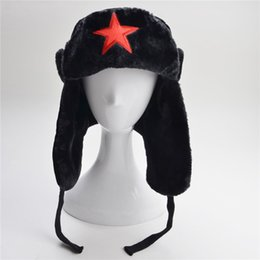 Wholesale Winter Hats Flaps - Woman Faux Fur Lined Trapper Hat Warm Windproof Winter Russian Hats With Ear Flaps Man Snow star Caps adult and children Bomber Cap