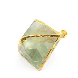 Wholesale Jade Pendant Purple - Natural Crystal Fluorite Green Purple Fluorite Stone With Gold Plated On Edged