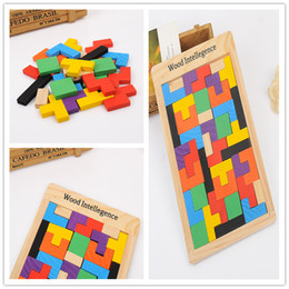 Wholesale Build Wooden Train - Wooden Russian Tetris Puzzle Jigsaw Intellectual Building Block and Training Toy for Early Education Children wood intellegence Toys