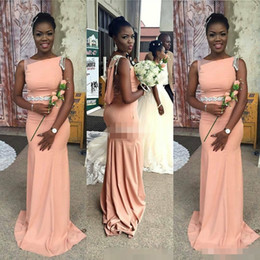 Wholesale Cheap Peach Mermaid Dresses - African 2017 Peach Satin Mermaid Bridesmaid Dresses Long Modest Bateau Black Sash Maid Of H Maid Of Honor Evening Party Gowns Cheap Hot Sale