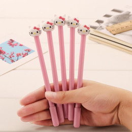 Wholesale Kawaii Design - Wholesale-Novetly 3D KT Pink Cat design 0.38mm Black gel pen kawaii Signature pen funny gift office school Stationery supplies wholesale
