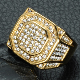 Wholesale Ip Set - HIP Hop Micro Pave Rhinestone Iced Out Bling Hexagonal Ring IP Gold Filled Titanium Stainless Steel Rings for Men Jewelry
