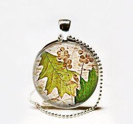 Wholesale Cabochon Resin Tree - Hot Oak Leaf pendant necklace,autumn leaves pendant necklace oak tree resin pendant Glass cabochon Necklace