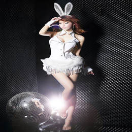 Wholesale Sexy Bunny Costume Cosplay - New Style Sexy Bar Cosplay Clothes Halloween Costume For Woman Party Bunny Ears Stage Clothing Performance Uniform In Stock YJ003