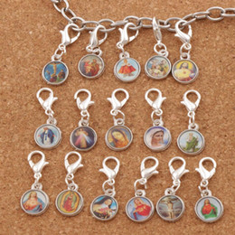Wholesale Angels Clips - 150pcs lot Catholic Religious Church Medals Saints Cross Clasp European Lobster Trigger Clip On Charm Beads C1707 26.7x10mm