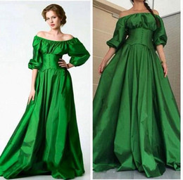 Wholesale Taffeta Puffy Prom Dress - Saudi Arabic Emerald Green Prom Dresses 2017 Vintage Puffy Sleeves Party Evening Gowns Off Shoulder Special Occasion Dress