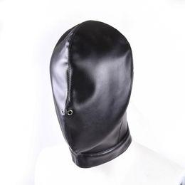 Wholesale Women Bdsm Leather - Funny Black Leather Bondage Hood Mask Fetish Bondage Restraint Blind Mask SM Sex Toys For Couple Women Men Gay Headgear BDSM Toys