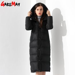 Wholesale Extra Long Coats Women - Down Jackets Women Coat Winter Warm Extra Long Jacket Female Coats Black Feather Parka Doudoune Outwear Hooded Clothing Garemay