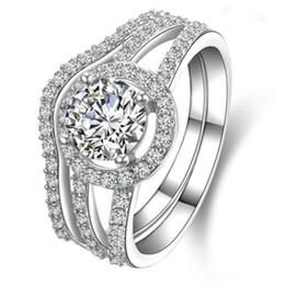 Argentina 1CT anillo de compromiso de diamante sintético redondo para las mujeres joyería de la placa de oro blanco joyería de plata real Suministro