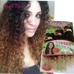 Wholesale Synthetic Curly Hair Wefts - micro curly high tempereture fiber ombre color Synthetic hair wefts 6PCS LOT Jerry curl crochet hair extensions crochet braids hair weaves