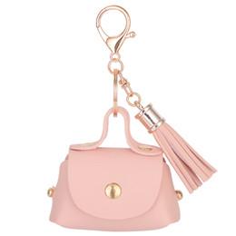 Wholesale Keychain Purse Charm - Fashion PU Leather Keychain Mini Coin Purse Key Ring Tassels Wallet Women Handbag Charm sleutelhanger pendant Key Chain