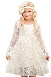 Wholesale Cheapest Girls Dresses - Cheapest Vintage Girls Summer Garden Flower Girl Dresses 2017 Long Sleeves Princess Kids Dresses Lace Flower Girl Dresses MC0788