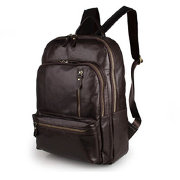 Wholesale Trendy New Backpack - 2017 New Arrival 100% Classic Leather Travel Bags Cowboy Genuine Leather Men's Trendy PC Backpacks Shoulder Bag 7313