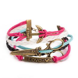 Wholesale China Handmade Leather Charm Bracelets - Retro Punk Style Handmade Genuine Leather Rope Multilayer Bracelets Bangle Womens Mens Unisex Fashion Jewelry Wristbands Love