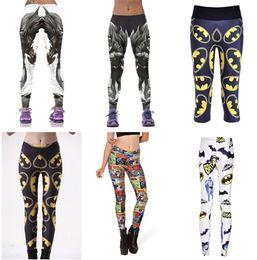 Wholesale Men Capris Xxl - Women BATMAN Yoga Pant Elastic Wicking Force Exercise Tights Sports Fitness LeggingsBAT MAN Bat Hero Run Trouser Capris LN7Slgs