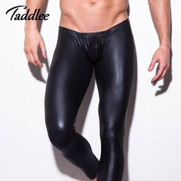 Wholesale Long Boxers - Wholesale-1pcs mens long pants tight fashion hot black huMan made leather sexy n2n boxer Full Length panties trousers Brand Straight