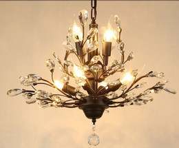 Wholesale Innovative Kitchen - New Innovative American pastoral style crystal ceiling lamp retro lustre K9 crystal Chandelier Black  Brown luminaire promotion LLFA