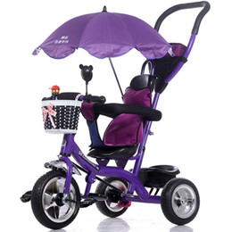 Wholesale Reversible Seat Pram - Wholesale- Luxury Infant Baby Stroller Tricycle Bicycle Children Steel Frame Pneumatic Wheel with Awnings Umbrella Kids Learning Bike Prams