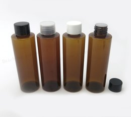 Wholesale Glass Shampoo Bottles - 30 X 150ml Flat Shoulder Amber PET shampoo Cream bottle with insert and plastic cap 150cc plastic cosmetic container