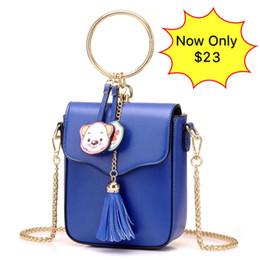 Wholesale Ladies Fashion Cross Ring - New Style Designer Lady Mini Bag Ring Tassel Shoulder Bags Crossbody Chain Zipper Rucksack Handbags PU Leather College Fashion Messenger Bag