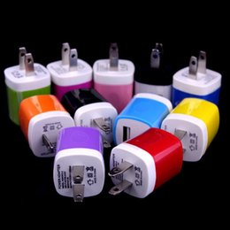 Wholesale colorful galaxy - 200pcs Colorful 5V 1000mah 1A US Ac home wall charger power adapter for iphone 5 6 7 for samsung galaxy note 2 4 s6 s7 gps mp3 mp4