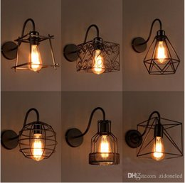 Wholesale Birdcage Style Lighting - loft American iron birdcage LED wall light country style badroom Corridor led wall sconce industrial lights