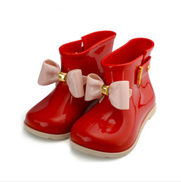 Wholesale Baby Rainboots - Kids 2017 spring summer Child PVC shoe for baby girl bow rain boot boy wellington boot kid brand waterproof boot