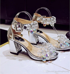 Wholesale Diamond Crystal Sandals - Hot Sexy high quality peep toe cool boots authentic diamond crystal sandal leather comfortable and sexy women shoes Female shoes DHL free